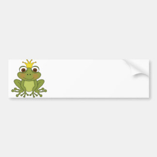 王冠を持つおとぎ話のカエルの王子 バンパーステッカー