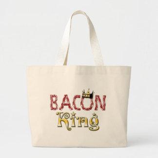 王冠を持つベーコン王 ラージトートバッグ