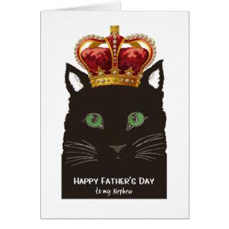 王冠を持つ甥の黒猫のための父の日 グリーティングカード