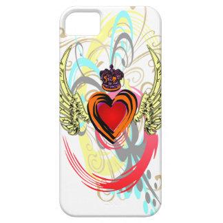 王冠及び渦巻のiPhone 5の場合との飛んだハート iPhone SE/5/5s ケース