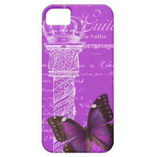 王冠、蝶とピンク旧式なコラムの紫色 iPhone SE/5/5s ケース