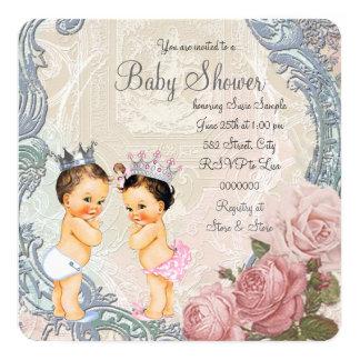 王子およびプリンセスの対のベビーシャワー カード