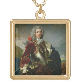 王子ジェイクス1er Grimaldi (カリフォルニアのポートレートの油 ゴールドプレートネックレス