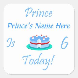 王子(あなたの名前)は今日6才です スクエアシール