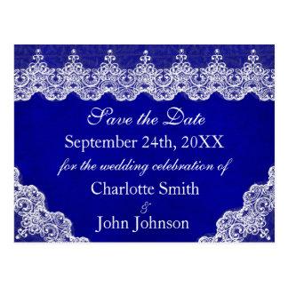 王室ので名前入りで青いコバルトのレースの保存日付 ポストカード