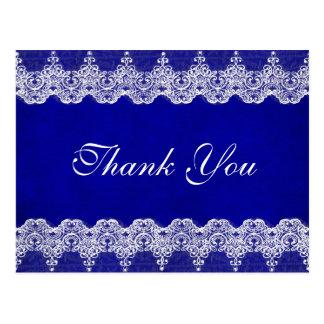 王室ので名前入りで青いコバルトのレースの郵便はがき ポストカード
