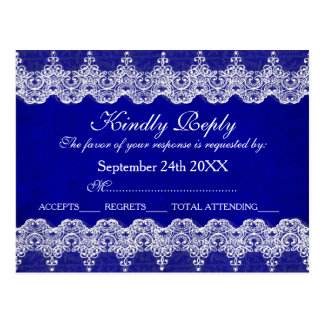 王室ので名前入りなRSVPの青いコバルトのレースの郵便はがき ポストカード
