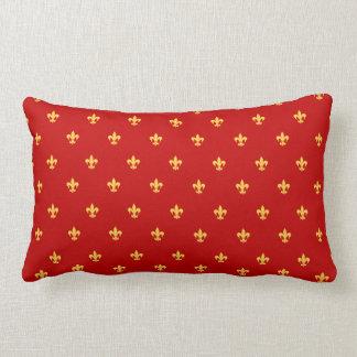 王室ので赤い背景のHeraldic Lilly ランバークッション
