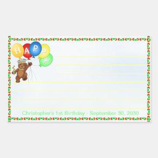 王室のなくまの第1誕生日はスクラップブック作りに注意します 長方形シール