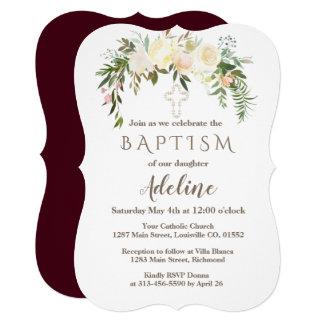 王室のなアイボリーの花のバーガンディの洗礼の招待 カード
