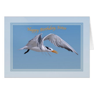 王室のなアジサシの鳥が付いている姉妹のバースデー・カード カード