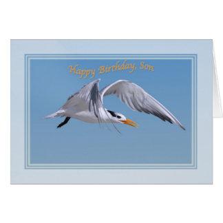 王室のなアジサシの鳥が付いている息子のバースデー・カード カード