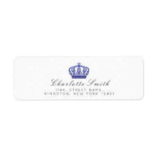 王室のなグリッターRSVPの皇太子妃の白いコバルトブルー ラベル