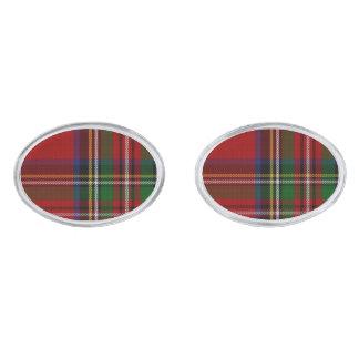 王室のなステュワートのタータンチェック格子縞のカフスボタン 銀色 カフリンク
