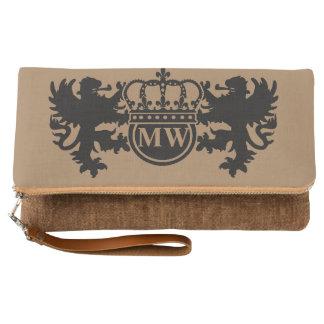 王室のなライオンのモノグラムブラウン クラッチバッグ