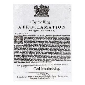 王室のな宣言1675年 ポストカード