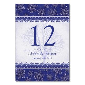 王室のな濃紺の白い雪片の冬の結婚式 カード