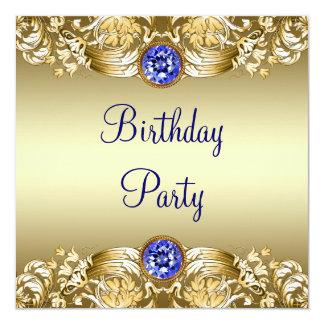 王室のな濃紺の金ゴールドの女性の誕生会 13.3 スクエアインビテーションカード