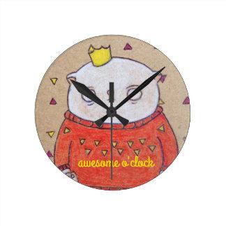 王室のな猫のキングピン ラウンド壁時計