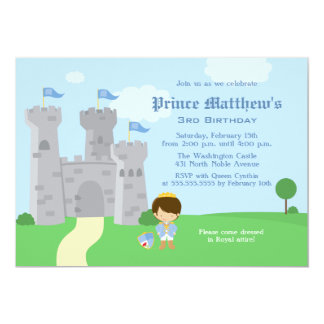 王室のな白馬の王子様の男の子の誕生会の招待 カード