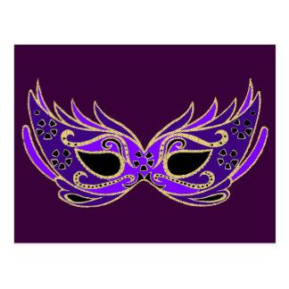 王室のな紫色の仮面舞踏会のマスク ポストカード