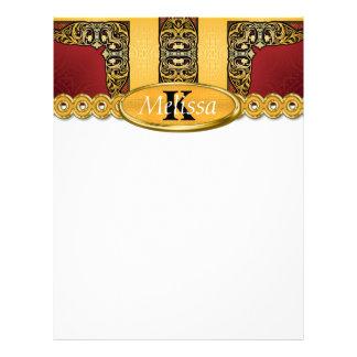 王室のな赤及び金ゴールドの華美なモノグラム レターヘッド