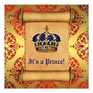 王室のな金ゴールドおよび赤い王子ベビーシャワー カード