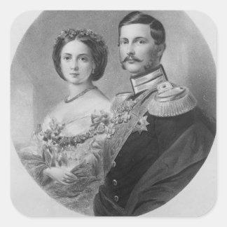 王室のな高度の結婚式ポートレート スクエアシール