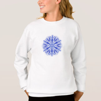 王室のな、中間の青い冬の雪片のフラクタル スウェットシャツ