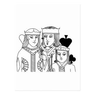 王室の肖像画のトランプゲームのトランプのポーカー項目 ポストカード