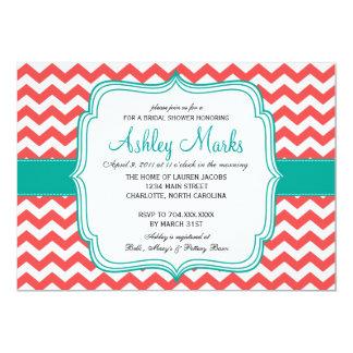 珊瑚およびターコイズの招待状 カード
