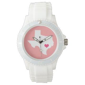 珊瑚およびピンクのハートのテキサス州の故郷の州 腕時計