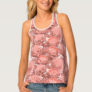 珊瑚およびピンクの熱帯花のダマスク織パターン タンクトップ