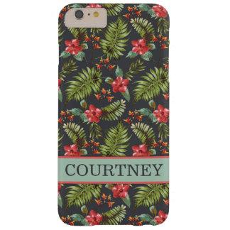 珊瑚およびミントのハイビスカスのやし熱帯花柄 BARELY THERE iPhone 6 PLUS ケース
