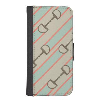 珊瑚およびミントの馬ビットリボンパターン iPhoneSE/5/5sウォレットケース