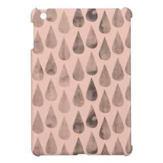 珊瑚および灰色の水彩画の雨滴パターン iPad MINIケース