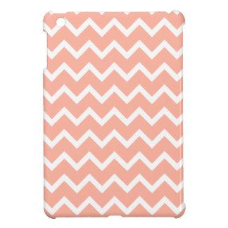 珊瑚および白いジグザグパターン iPad MINIケース