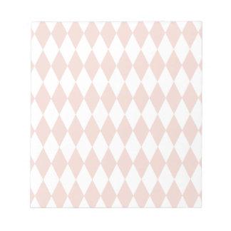 珊瑚および白いダイヤモンドパターン ノートパッド