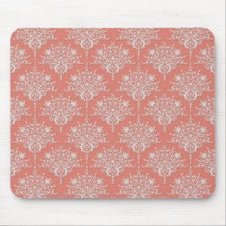 珊瑚および白くエレガントな花のダマスク織 マウスパッド