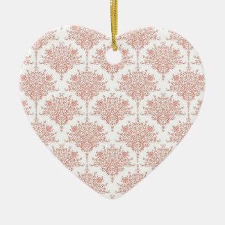 珊瑚および白の花のダマスク織 陶器製ハート型オーナメント