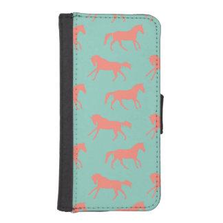 珊瑚および真新しい疾走する馬パターン iPhoneSE/5/5sウォレットケース