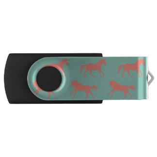 珊瑚および真新しい疾走する馬パターン USBフラッシュドライブ