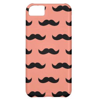 珊瑚および黒い口ひげパターン iPhone5Cケース