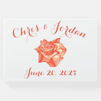 珊瑚のばら色のシンプルでエレガントな夏の結婚式 ゲストブック
