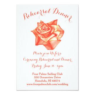 珊瑚のばら色の結婚式のリハーサルの夕食の招待状の地図 カード