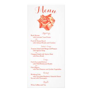 珊瑚のばら色の結婚式メニュー披露宴のスケジュールカード ラックカード