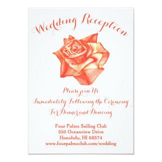 珊瑚のばら色の結婚披露宴の招待状の地図カード カード