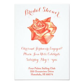 珊瑚のばら色の花嫁の婚約のシャワーの招待状 カード