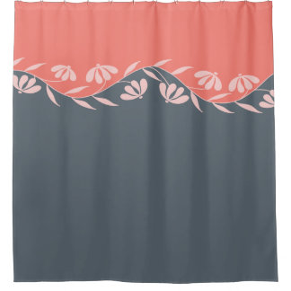 珊瑚のオレンジモモの灰色の花柄 シャワーカーテン