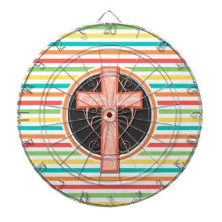 珊瑚のオレンジ十字; 明るい虹は縞で飾ります ダーツボード